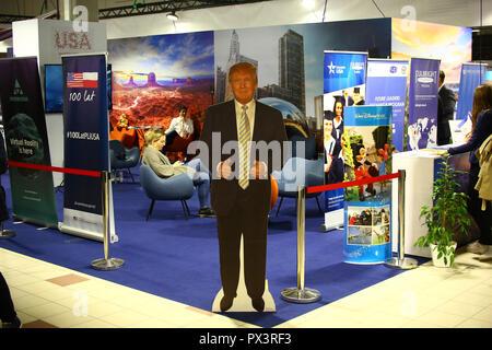 Nadarzyn, Poland, 19th October 2018: USA tourism promotion stand at World Travel Show. ©Jake Ratz/Alamy Live News - Stock Photo