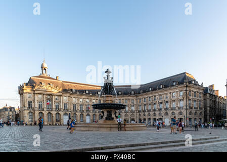 Bordeaux, France - July 22, 2018: Place de la Bourse. This square is one of the most representative works of classical French architecture. In the nor - Stock Photo