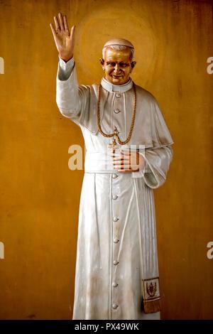 Pope John Paul II statue in Cristo Risorto de Hedzranawoe catholic parish church, Lomé, Togo. - Stock Photo