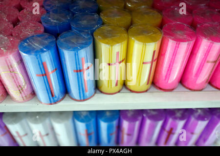 Corored church candles for sale.  Ho Chi Minh City. Vietnam. - Stock Photo