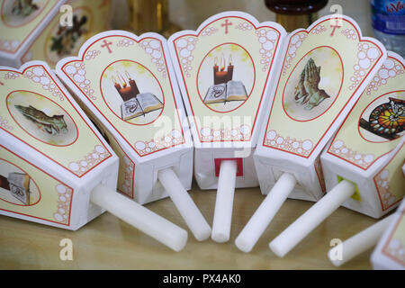 Gia Dinh Church. Church candles for procession. Ho Chi Minh City. Vietnam. - Stock Photo