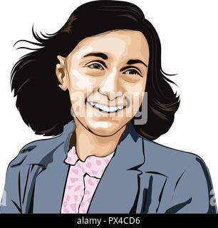 Anne Frank. Annelies Marie Frank, German(1929 –1945).She gained fame posthumously with the publication of The Diary of a Young Girl.Anne Frank vector - Stock Photo