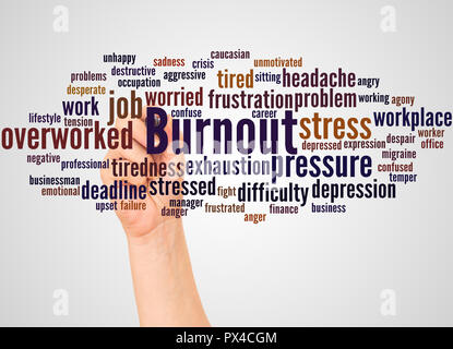 Burnout word cloud and hand with marker concept on gradient background. - Stock Photo