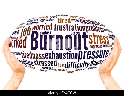 Burnout word cloud hand sphere concept on white background. - Stock Photo