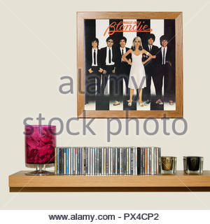CD Collection and framed Blondie 3rd album Parallel Lines, England - Stock Photo
