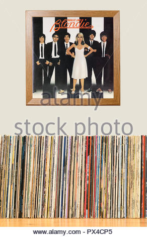 LP Collection and framed Blondie 3rd album Parallel Lines, England - Stock Photo
