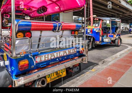 Tuk Tuk three-wheeler taxi, Bangkok, Thailand - Stock Photo