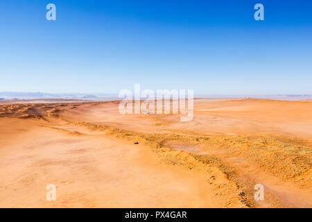 Aerial view, desert landscape, red sand dunes, Namib Desert, Namib-Naukluft National Park, Namibia - Stock Photo