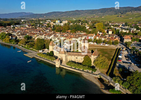 Castle and town of Rolle on Lake Geneva, Canton of Vaud, Switzerland - Stock Photo