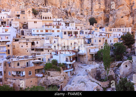 Maalula, Rif Dimashq Governorate, Syria : General view of the Christian pilgimage village of Maalula,   one of three remaining villages in Syria where - Stock Photo