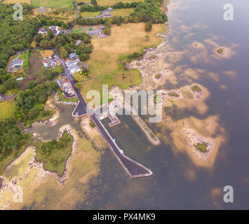 An aerial view of Kilbeg Pier near the town of Headford in County Galway, Ireland. - Stock Photo