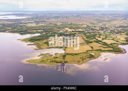 An aerial view of farms and meadows near Lough Corrib in County Galway, Ireland. - Stock Photo