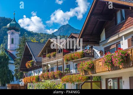 Lüftlmalerei or wall painting, Garmisch-Partenkirchen, Bavaria, Germany - Stock Photo