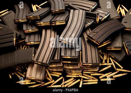 High capacity AR-15 ammunition magazines. - Stock Photo