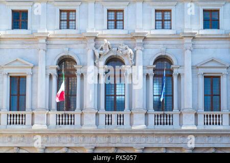 Bergamo, Italy, the facade of the Nuovo palace - Stock Photo