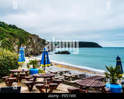 View from The Ship Inn at Tresaith on the Welsh coast in Ceredigion. - Stock Photo