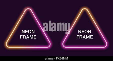 Glowing orange neon vector triangle background  Energy effect logo