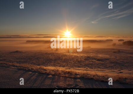 Breathtaking sunrise in winter wonderland Iceland. - Stock Photo