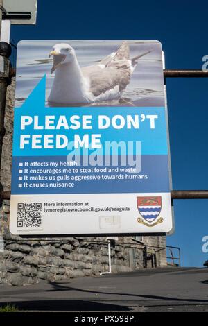 Do not feed the seagulls sign, Lyme Regis, Dorset, UK - Stock Photo