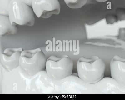 Bacteria and viruses around tooth 1 of 2 -- 3D Rendering - Stock Photo