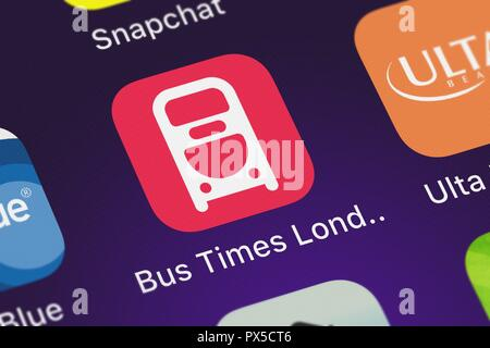 London, United Kingdom - October 19, 2018: Screenshot of Mapway Limited's mobile app Bus Times London. - Stock Photo