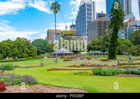 Royal Botanic Garden in Sydney with high rise office buildings on Macquarie street,Sydney city centre,New South Wales,Australia - Stock Photo