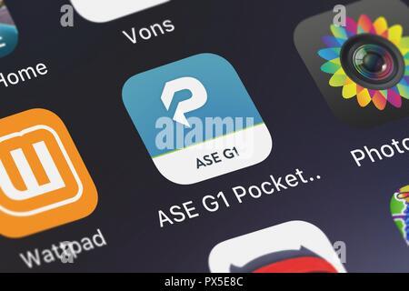 London, United Kingdom - October 19, 2018: Screenshot of the mobile app ASE G1 Pocket Prep from Pocket Prep, Inc.. - Stock Photo