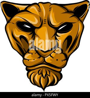 puma face vector illustration flat style front side - Stock Photo