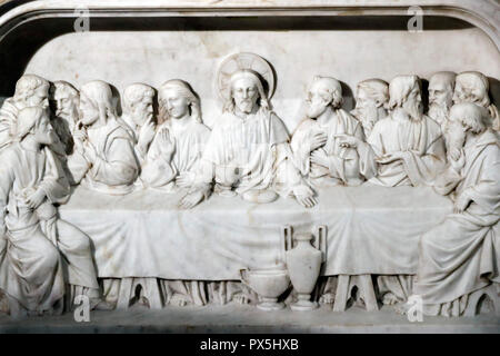 Saint Nizier church. The Last Supper is the final meal that Jesus shared with his Apostles in Jerusalem.  Lyon. France. - Stock Photo