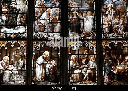 Saint Nizier church.  Stained glass window.  St Francis de Sales by Claudius Lavergne (1815-1887).  Lyon. France. - Stock Photo