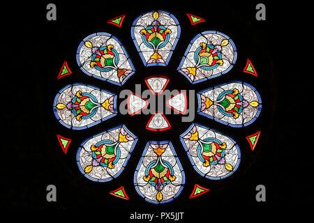 Sainte Marie Madeleine church.  Stained glass window.  Praz sur Arly. France. - Stock Photo