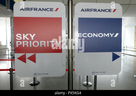 Charles de Gaulle Airport ( CDG).  Air France Sky Priority.  Paris. France. - Stock Photo