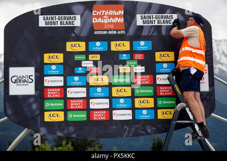 Criterium of Dauphine Libere cycling race 2018.  The official podium.  Saint Gervais Mont Blanc. France. - Stock Photo