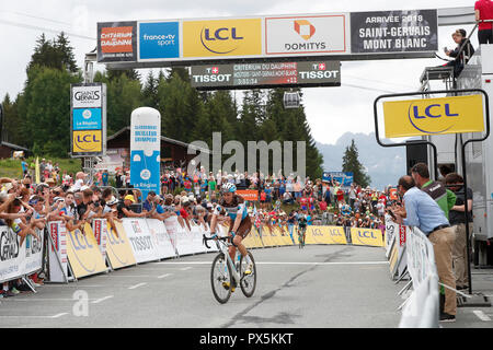 Criterium of Dauphine Libere cycling race 2018.  Finish line.   Romain Bardet.  Saint Gervais Mont Blanc. France. - Stock Photo