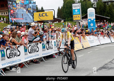 Criterium of Dauphine Libere cycling race 2018.  Finish line.   Saint Gervais Mont Blanc. France. - Stock Photo