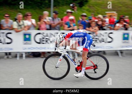 Criterium of Dauphine Libere cycling race 2018.  Finish line.  Saint Gervais Mont Blanc. France. - Stock Photo