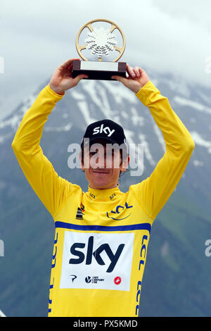 Criterium of Dauphine Libere cycling race 2018.  The official podium. Geraint Thomas.  Saint Gervais Mont Blanc. France. - Stock Photo