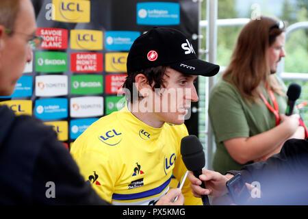 Criterium of Dauphine Libere cycling race 2018.  Geraint Thomas.  Interview. Saint Gervais Mont Blanc. France. - Stock Photo
