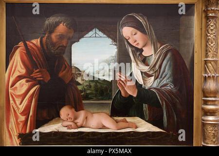 Fine Art museum, Lyon, France. Lorenzo Costa, Nativity scene, c.1490, oil on wood. - Stock Photo
