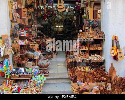 Crete, Greece - JUNE 25, 2013: Island Fondling, covered market in the Eleftherias space, price. Crete, Greece - Stock Photo