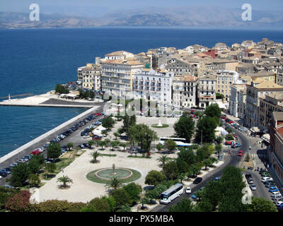 Crete, Greece - JUNE 25, 2013: Top view from the mountain road - on Old port Corfu town in the sunset light, Crete, Greece - Stock Photo