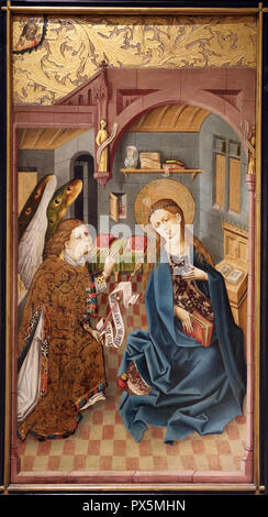 MusŽe des Beaux-Arts, Lyon, France. Fine Art museum, Lyon, France. Rhine. The Annunciation, c. 1460. - Stock Photo