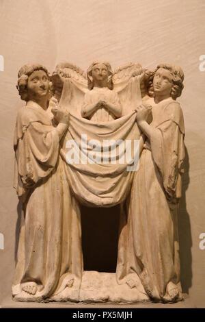 MusŽe des Beaux-Arts, Lyon, France. Fine Art museum, Lyon, France. Lombardy, Angels carrying a soul, 14th century, marble. - Stock Photo