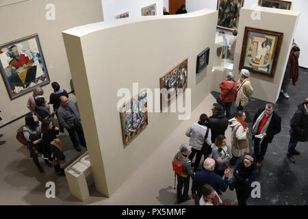 MusŽe des Beaux-Arts, Lyon, France. Fine Art museum, Lyon, France. Visitors. - Stock Photo