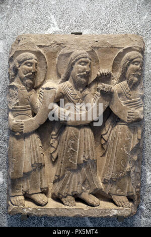 MusŽe des Beaux-Arts, Lyon, France. Fine Art museum, Lyon, France, Catalonia, c. 1170-1180. Three prophets. - Stock Photo
