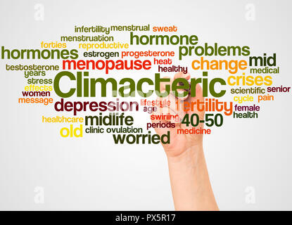 Climacteric word cloud and hand with marker concept on white background. - Stock Photo
