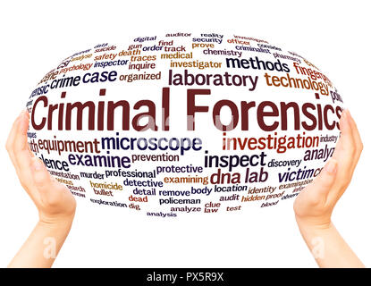Criminal Forensics word cloud hand sphere concept on white background. - Stock Photo