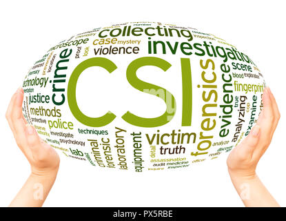 CSI Crime Scene Investigation word hand sphere cloud concept on white background. - Stock Photo