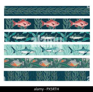 Set of seamless underwater marine life themed patterns with fish as silvertip shark red snapper Atlantic mackerel and piranha swimming in seaweed kelp - Stock Photo