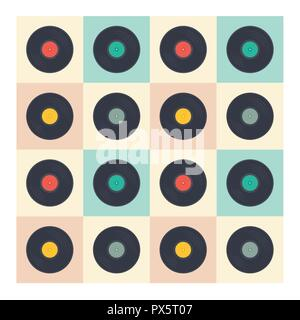 Vinyl records seamless pattern retro music albums in pop art style vector collection illustration - Stock Photo